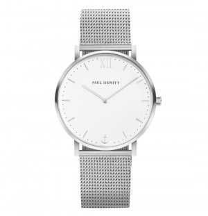 Paul hewitt: Uhr Sailor White Sand Silber Mesh & Lederband