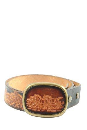 Paul Hundertmark Leather Belt black-brown abstract pattern elegant