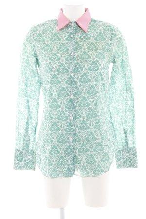 Paul & Joe Langarm-Bluse weiß-grün Allover-Druck Casual-Look