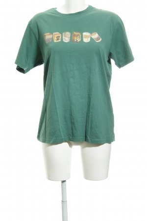 Paul Smith T-Shirt waldgrün-hellbraun Motivdruck Casual-Look