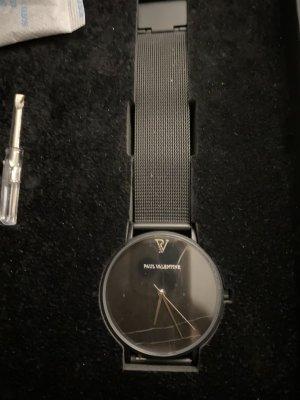 Paul Valentine Horloge met metalen riempje zwart-wit