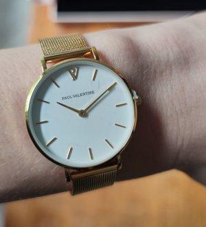 Paul Valentine Zegarek z metalowym paskiem biały-złoto