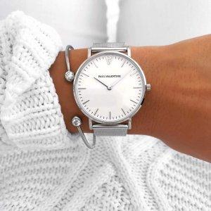 Paul Valentine Zegarek z metalowym paskiem srebrny-biały
