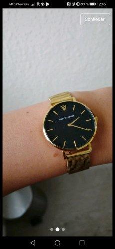 Horloge met metalen riempje zwart-goud