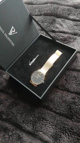 Paul Valentine Montre avec bracelet métallique doré