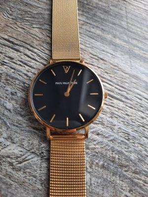 Paul Valentine Horloge met metalen riempje zwart-goud