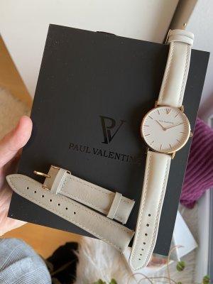 Paul Valentine Uhr neu mit Extraband Leder weiß grau