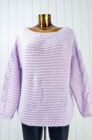 Cardigan a maglia grossa rosa pallido-viola Acrilico