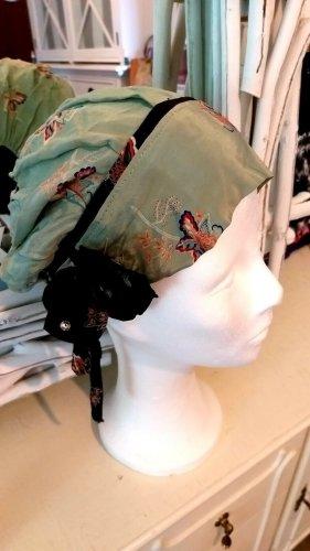 Fabric Hat sage green-dark red silk