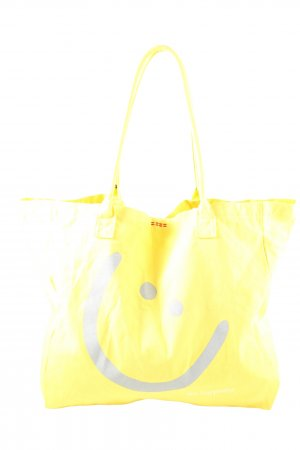 Peace Love World Borsa di tela giallo pallido Stampa a tema stile casual