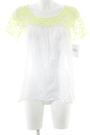 Peace n Love Kurzarm-Bluse weiß-neongelb Stickereiverzierung