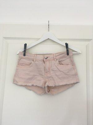 Peach-farbende Jeans-Shorts mit Fransen von Denim Co.