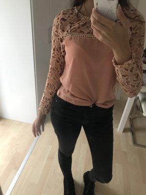 Peachfarbene schöne Bluse mit Spitze / mit Etikett