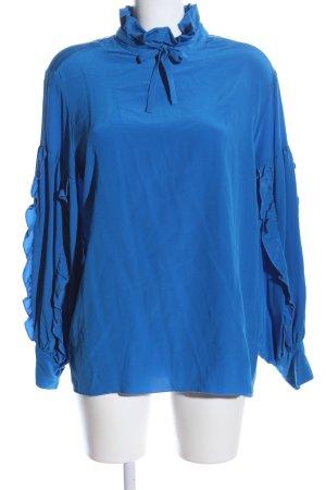 Peacock Blue Seidenbluse blau Business-Look