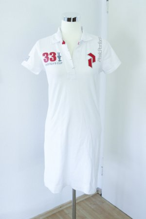 Peak performance Vestido tipo polo blanco-rojo neón
