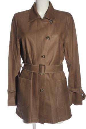 Pearls Manteau en cuir brun style décontracté