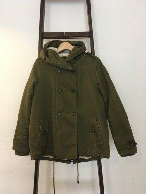 Peckott Abrigo con capucha verde oscuro Algodón