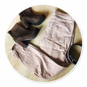Peckott Pantalone boyfriend rosa antico-bianco sporco
