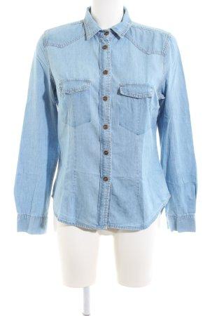 Peckott Jeansbluse blau Casual-Look