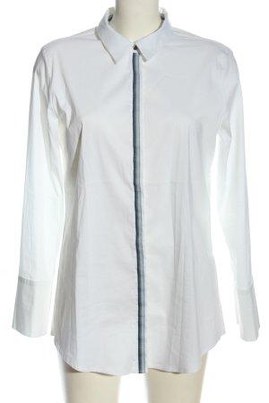 Peckott Koszula z długim rękawem biały Wzór w paski W stylu biznesowym