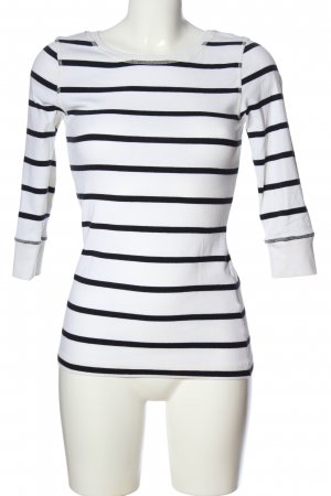 Peckott Longsleeve weiß-schwarz Streifenmuster Casual-Look