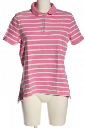 Peckott Polo Shirt pink-white striped pattern casual look