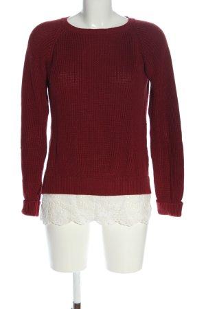 Peckott Rundhalspullover rot-weiß Zopfmuster Casual-Look