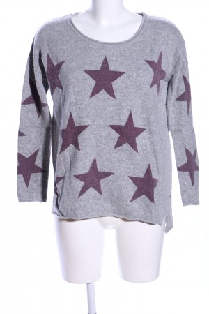 Peckott Knitted Sweater light grey-lilac allover print casual look