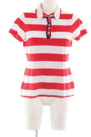 Peckott T-Shirt weiß-rot Streifenmuster Casual-Look
