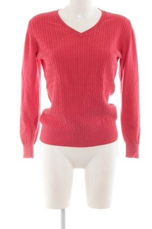 Peckott V-Neck Sweater light orange cable stitch classic style