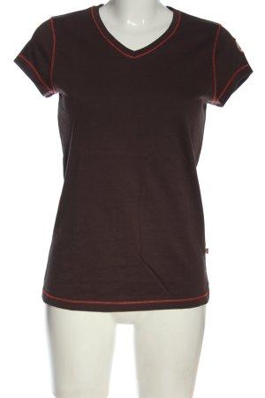 Peckott V-Ausschnitt-Shirt braun-rot Casual-Look