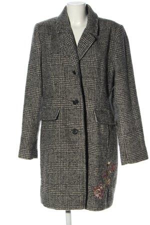 Peckott Wool Coat light grey-cream check pattern casual look