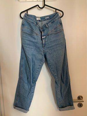 Closed Mom-Jeans błękitny-chabrowy