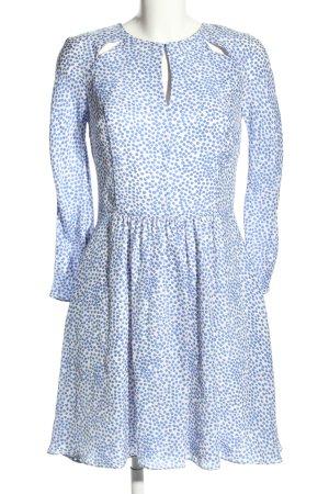 Pedro del Hierro Langarmkleid weiß-blau Allover-Druck Elegant