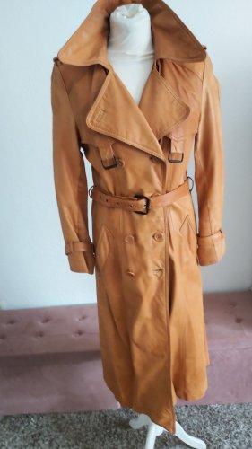 Peek & Cloppenburg Skórzany płaszcz brązowy-camel