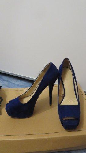 peep toe High Heels in königsblau von Zara