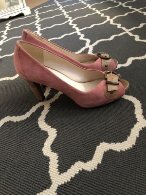Peep Toe rosa braun Gr. 37 Sommer Schuhe Pumps