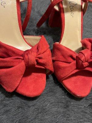 Peep Toe Sandalen mit Absatz mit Schleife rot