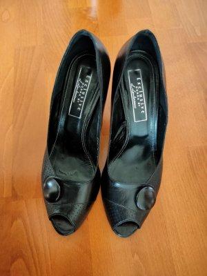 Peep Toe, schwarz Leder, GR. 40