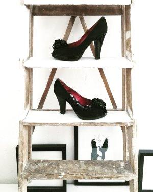 peep toes • pumps • leder • schwarz • vintage • bohostyle • romanticlook • high heels