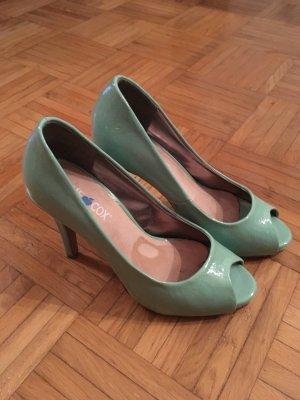 Escarpins à bout ouvert turquoise