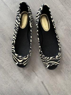 H&M Baleriny z odsłoniętym palcem czarny-biały