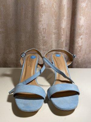 Sandały na obcasie z rzemykami jasnoniebieski