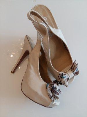 Sandalo con plateau bronzo-beige chiaro