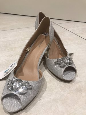 Inspire Peep Toe Pumps silver-colored