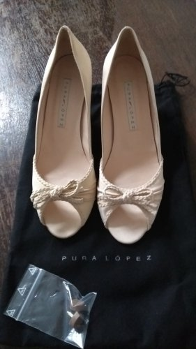 Pura Lopez Peep Toe Pumps natural white