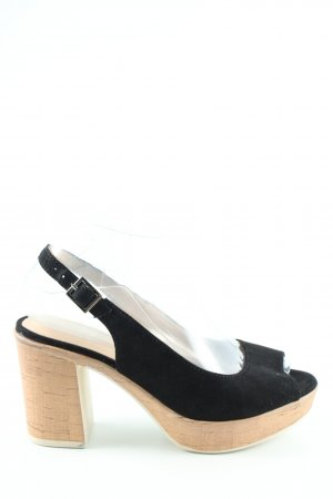 Peep Toe Pumps black-cream casual look