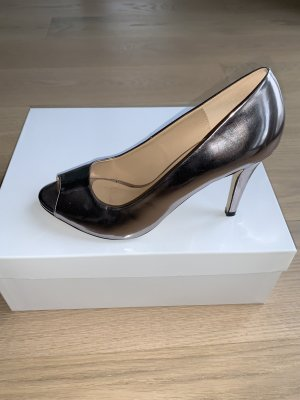 Buffalo Peep Toe Pumps silver-colored
