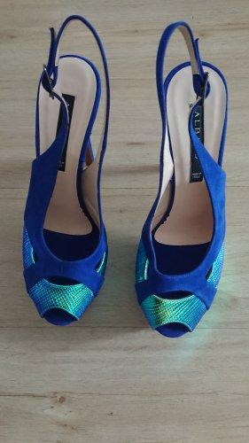 Sandales à talons hauts et plateforme bleu fluo
