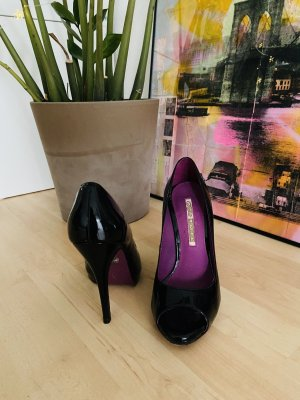 Buffalo London Peep Toe Pumps zwart-lila Leer